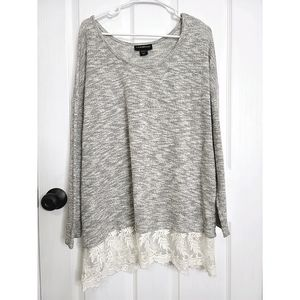 Lane Bryant Gray Scoop Neckline Sweater Lace Trim